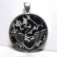 Winged Heart Black Lace Silver Round Resin Pendant
