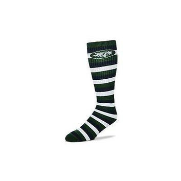 New York Jets Striped Knee High Hi Tube Socks One Size Fits Most Adults