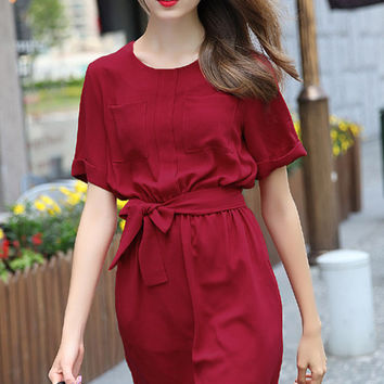 Red Short Sleeve Tie Waist Casual Dress