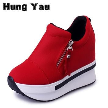 HungYau Wedges Sneaker Women Boots 2017 Platform Shoes Woman Creepers Zipper Ankle Boots Fashion Flats Casual Women Shoes Size 8