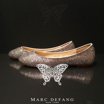 The Little Luxury Classic Clear Crystal Flats by MDNY on Etsy