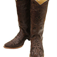 Corral Brown Vintage Lizard Inlay Snip Toe Cowgirl Boots C2692