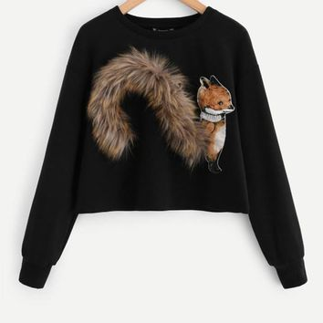 Faux Fur Fox Patch Sweatshirt Pullover Women Black Long Sleeve Round Neck Casual Fall Women Sweatshirt