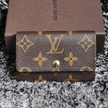LV Louis Vuitton Trending Women Men Monogram Print Buckle Canvas Key Pouch Key Packet I