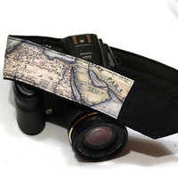 Vintage Map Camera Strap. Holy Land Camera Strap. Nikon Canon Camera Strap. SLR, DSLR Camera Strap. Gift For Photographer.