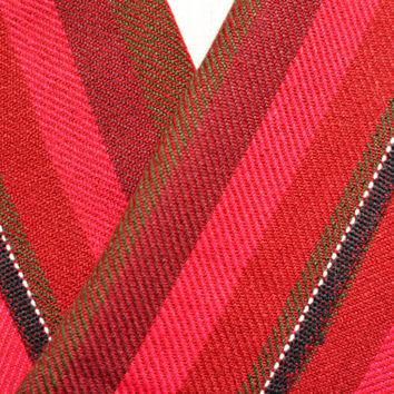 Vintage Red Striped Pure Wool Fabric Yardage - 3.3 yds