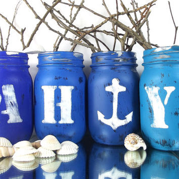 AHOY - Beach, Nautical Themed Centerpiece - Mason Jar Vase Set -- Blue, Hand Painted Mason Jars