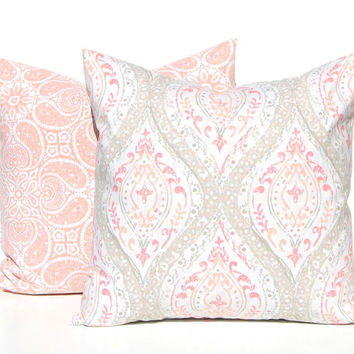 Decorative Pillow Covers - Tan and Coral Pillow Covers - Sofa Pillow Covers - Pair of Two - Throw Pillow Covers - Large Scale Damask