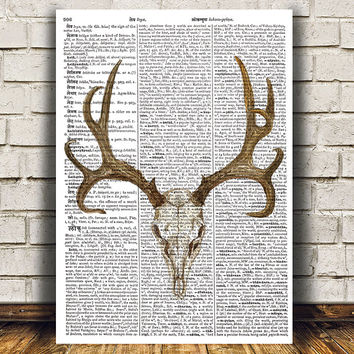 Anatomy print Deer skull poster Watercolor decor Dictionary print RTA1301