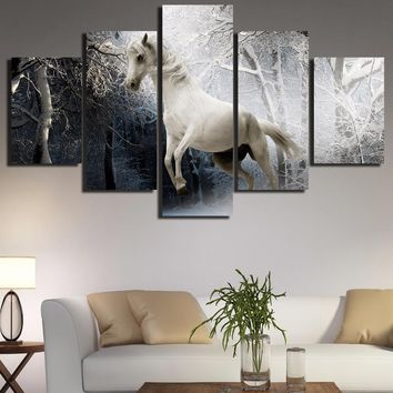Galloping Horse Winter Night Trees Forest 5 Panel Wall Art Canvas Panel Print