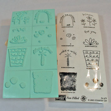 """Stampin Up Stamp Set - Stampin Up Rubber Stamps - RETIRED -  MINT and Unmounted - """"Fun Filled"""" - Scrapbooking, Craft Stamps, Collage Stamps"""