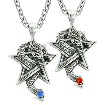 Courage Dragons Star Pentacle Amulet Love Couples Best Friends Simulated Cats Eye Jasper Necklaces