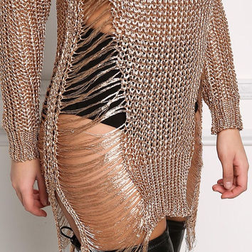 Rose Gold Metallic Knit Frayed Tunic Top