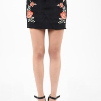 Embroidered Black Jean Mini Skirt