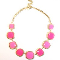 Pink Contrast Stone Necklace