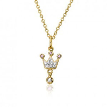 Pretty Princess White Crown Pendant Necklace.