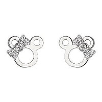 .925 Sterling Silver Rhodium Plated Micky Mouse Ribbon CZ Stud Earrings with Screw-back for Children & Women: Jewelry: Amazon.com