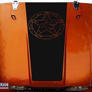 distressed Star Hood Blackout Vinyl Decal fits Jeep CJ5 CJ7 CJ8 Scrambler