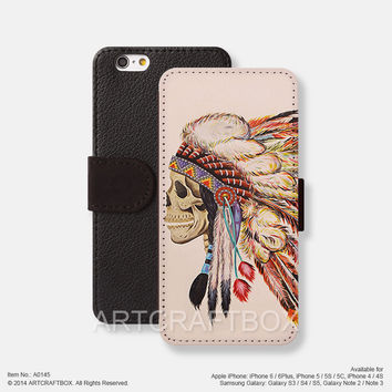Tattoo indians Feather skull iPhone leather wallet cover Free Shipping iPhone 6 6 Plus 5S 5C case cover, Samsung Galaxy S3 S4 S5 Note 2 Note 3 Note 4 case cover 145