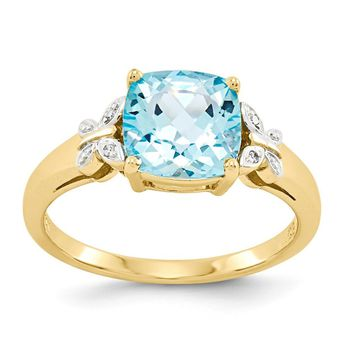 14k Yellow Gold Diamond and Blue Topaz Square Ring