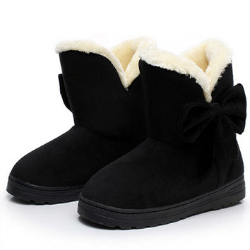 2016 Winter newest women boots ladies snow boots solid color classical with bowtie slip-on women casual shoes hot sale AST905