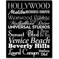 Los Angeles LA City Subway Sign Art  Destination Typography Print 8x10 Black and White