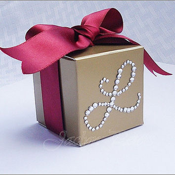 Gold Favor Box Personalized Silver Rhinestone Initial Wedding 50th Anniversary Party