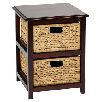 Office Star Seabrook Two-Tier Storage Unit With Espresso Finish and Natural Baskets [SBK4512A-ES]