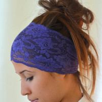 purple lace headband stretchy hair band yoga headband ear warmer christmas gifts birthday gifts