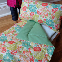 Coral Floral & Asparagus Green American Girl and 18-inch Doll Bedding Set