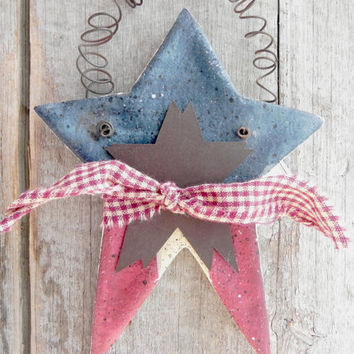 Primitive Star Patriotic Ornament Jumbo Wall Decor Hanging Salt Dough Star