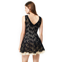 Black Sleeveless Lace Skater Mini Dress