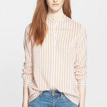 Women's Burberry Brit Collarless Stripe Shirt