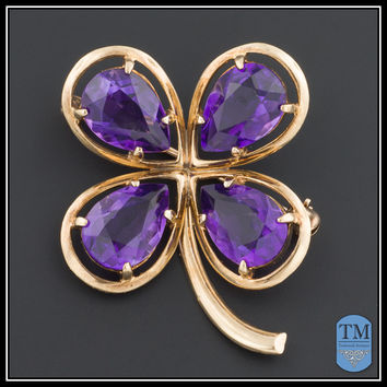 Lucky in Love Vintage 14k Gold & Amethyst Clover Pin or Brooch