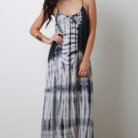 Tie Dye Sleeveless High Low Maxi Dress