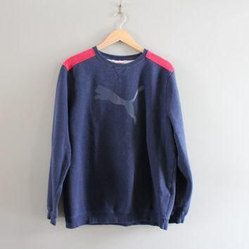 puma sweatshirt blue fleece lining cotton puma pullover logo sweater slouchy baggy vin  number 1