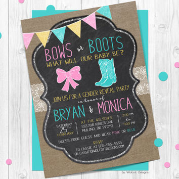Boots or Bows gender reveal invitations, gender announcement, lace, country rustic, burlap, chalkboard, gender neutral, bows, cowboy boots