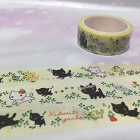 black cat white Cat washi tape 5M x 1.5 cm Cute cat Watercolor cat pussy masking tape kitten kawaii cat sticker tape cat planner diary decor