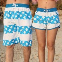 Lovers beach pants stars stripe white shorts in summer