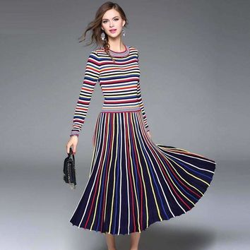 Rainbow Striped Women Fit Flare Dress Casual Cotton Knitting Empire Mid-Calf Elasticity Women Dress