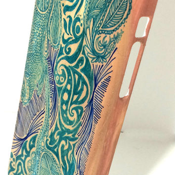 iPhone 5c Hand Drawn Teal Case, Turquoise and Navy 5C Artist Phone Case, Hand Painted Green Art Nouveau Abstract Patterned iPhone Case