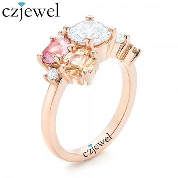 Custom-Cluster-Set-CZ Stone-and-Pink-Engagement-Ring Rose Gold Color Wedding Engagement Ring
