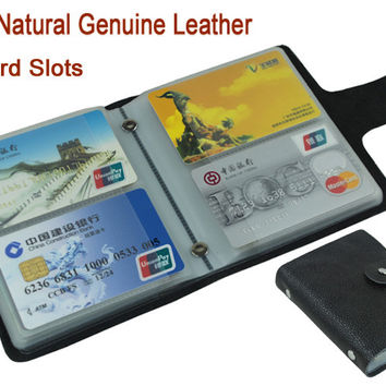 100% Genuine Leather Credit Card Holder Men Card ID Holder Case Women Business Card Holder Large capacity with 60 Slots MC-902