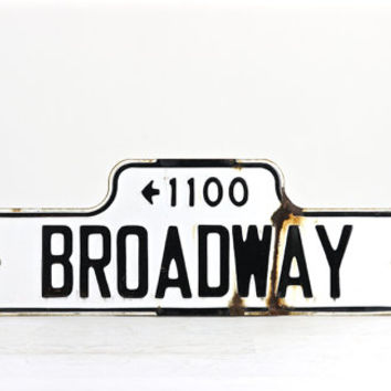 Vintage Street Sign, Porcelain Street Sign, Old Street Sign, Street Sign, Black And White Street Sign, Industrial Decor, Broadway Street
