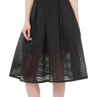 Black Sleeveless Cropped Top With Mesh Midi Skater Skirt