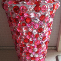 Pink and Red Rhinestone Tumbler Cup