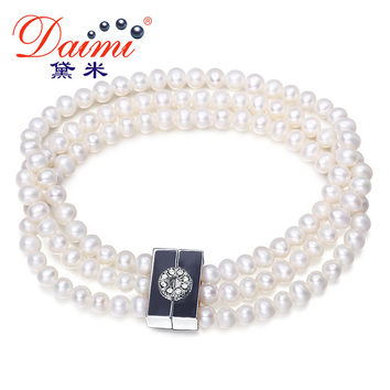 DAIMI Natural Bracelet  4-5 mm White Freshwater Pearl 3 Strand Bracelets  For Women