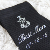 Fraternity Crest Wedding Party Socks, Kappa Sigma Shown, Others Available, Black Wedding Dress Socks, Set of 3 pairs