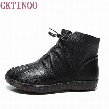 GKTINOO Autumn Winter Genuine Leather Ankle Boots Handmade Lady soft Flat shoes comfortable Casual Moccasins Women's shoes