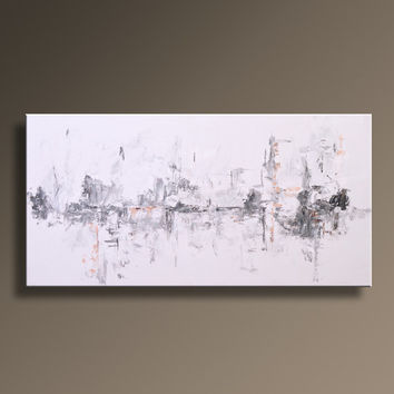 "48"" Large Original ABSTRACT Painting on Canvas Contemporary  Modern Art  WHITE and GRAY Black wall decor - Unstretched"